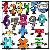 Smiley Numbers & Math Symbols Clipart Bundle