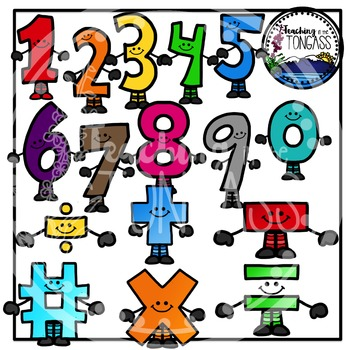 Smiley Numbers & Math Symbols Clipart Bundle