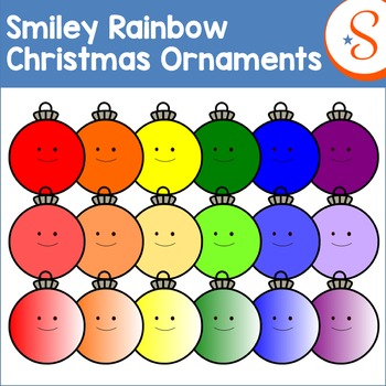 Smiley Rainbow Christmas Ornaments