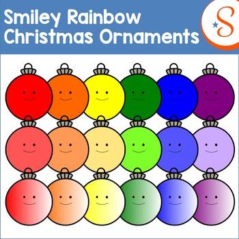 Smiley Rainbow Christmas Ornaments