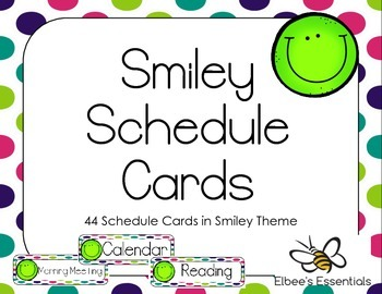 Smiley Schedule Cards - Green