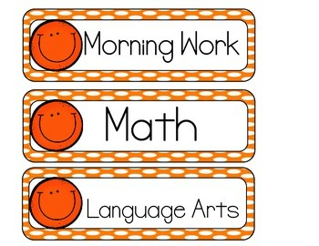 Smiley Schedule Cards - Orange