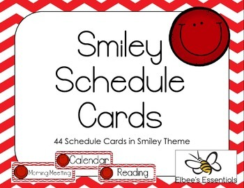 Smiley Schedule Cards - Red
