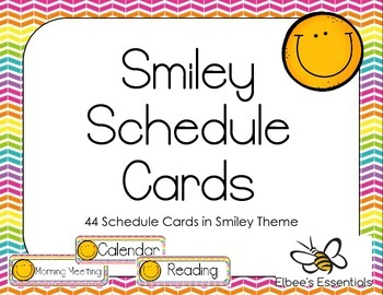 Smiley Schedule Cards - Yellow & Rainbow