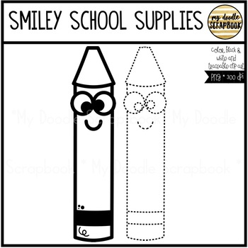 Smiley School Supples Bundle (Clip Art for Personal & Commercial Use)