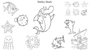 Smiley Shark Book by Ruth Galloway Sequencing Coloring Page