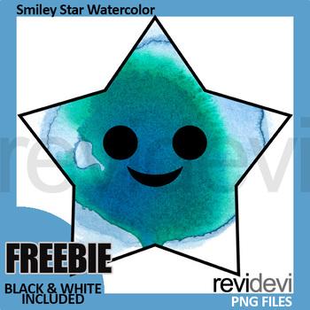 Smiley Star Clipart (watercolor fx clip art)