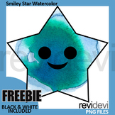 Smiley Star Clipart (watercolor fx clip art)