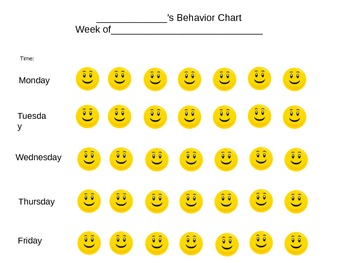Smiley Sticker Behavior Chart