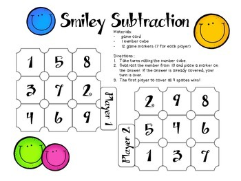 Smiley Subtraction - One Page Math Game