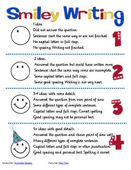 Smiley Writing Poster And Rubric For Letter Writing By