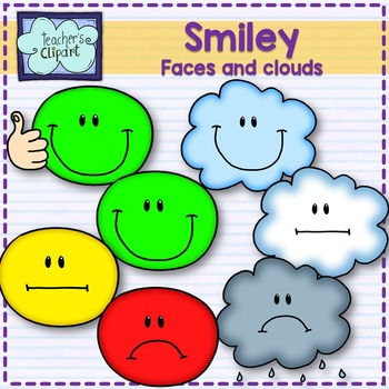 Clipart - Smiley faces and clouds - for grading- Teacher's Clipart