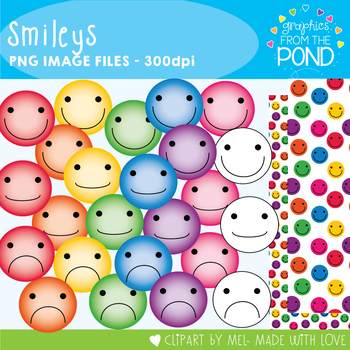 Smileys - Clipart Line Art and Digi Papers