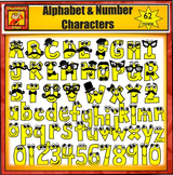 Mustache Alphabet and Number Clip Art Characters from Charlotte's Clips