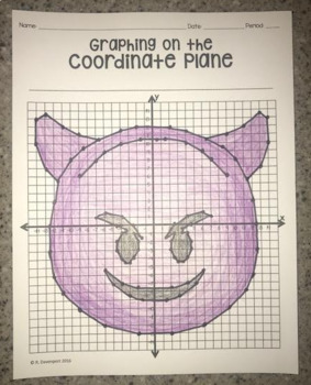 Smiling Face with Horns Emoji (Graphing on the Coordinate Plane)
