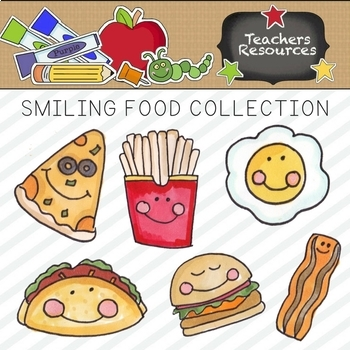 Smiling Food Clipart Collection || Commercial Use Allowed