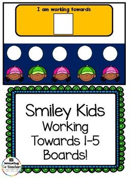 Smiling Kids Working Towards 1-5 Visual Reinforcement Board