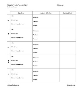 Weekly Lesson Plan Summary Template (Secondary Lesson Planning)