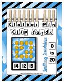 Smiling Sunshine ~ Count 0 to 20 Clip Card Clothes Pin Math Center ~ Preschool
