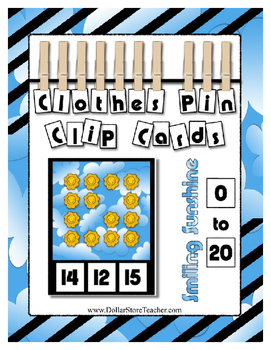 Smiling Sunshine ~ Count 0 to 20 Clip Card Clothes Pin Math Center ~ Preschool