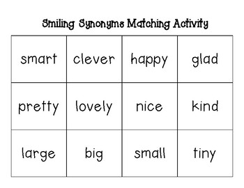 Smiling Synonyms Matching Activity and Worksheet