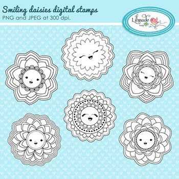 Smiling daisies digital stamp, coloring page elements
