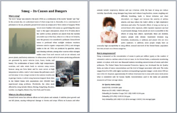 Smog - Its Causes and Dangers - Science Reading Article