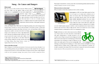 Smog - Science Reading Article - Grades 5-7