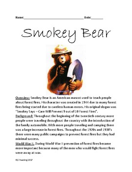Smokey Bear - History Facts Information review questions