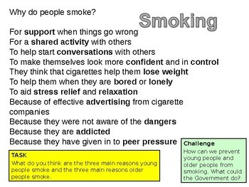Smoking : How it affects the population (Health and mental health resources)
