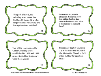 Smoky Mountain Math Word Problem Task Cards