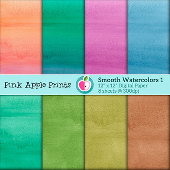 Smooth Watercolors: Vol 1 Style Digital Papers Set: Graphics for Teachers