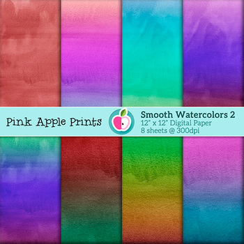 Smooth Watercolors: Vol 2 Style Digital Papers Set: Graphics for Teachers