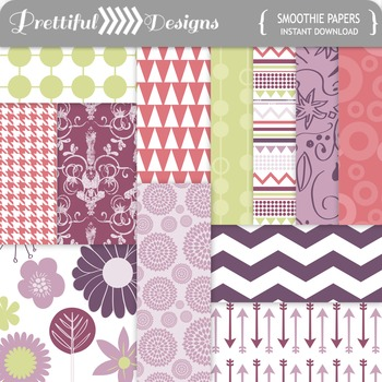 Smoothie Digital Paper Pack in Pinks, Purples, and Green