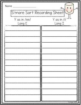 S'more Sort: Sounds of Y endings {Word Work - Phonics}
