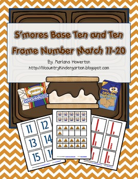 S'mores Base Ten and Ten Frame Number Match 11-20 Summer Fun Camping