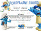 Smurfs Achievement Award Complete Editable!!!!! English & Spanish version