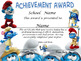 Smurfs Achievement Award Spanish & Englis version Complete