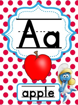 Smurfs Alphabet Posters (Red background)