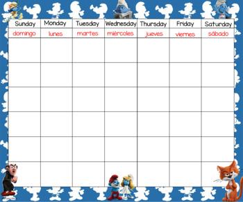 Smurfs Calendar 24x20 Bilingual