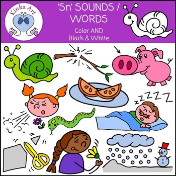Sn Sounds / Words: Beginning Sounds Clip Art