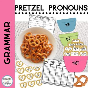 Pronoun Sorts / Worksheets: Fun Snack Attack Pretzel Pronouns