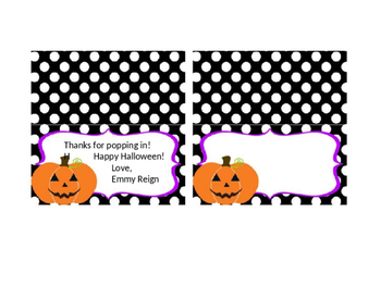 Snack Bag Topper (Halloween Popcorn Bags) Editable
