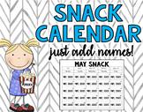 Snack Calendar **EDITABLE**