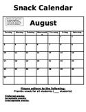 Snack Calendar Template