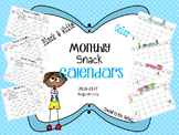Snack Calendars Aug-July 2016-2017 BW and Color (editable)
