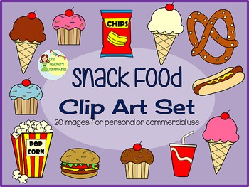 Snack Food Clip Art Set - 20 images for personal or commercial use