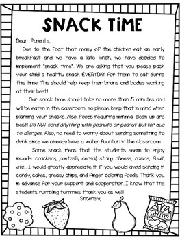 Snack Letter for Parents
