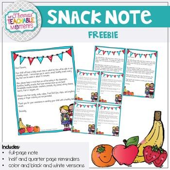Snack Note FREEBIE!
