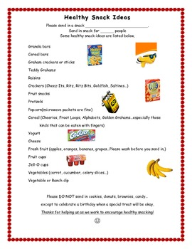 Snack Note for Parents